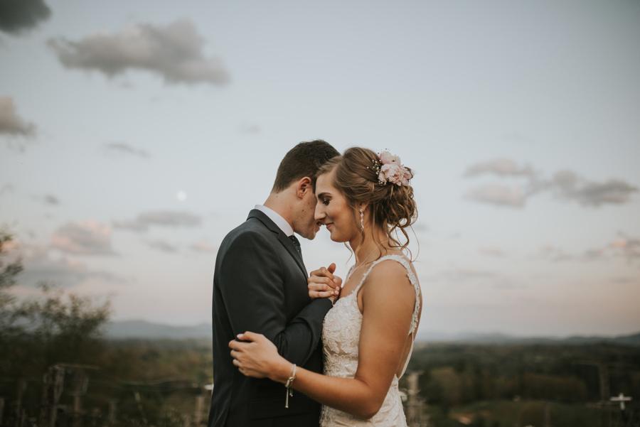 Bride and Groom Romantic Mountain Wedding