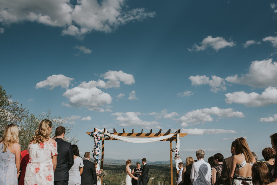 Ceremony Blue Sky Longleaf Vineyard Asheville Wedding