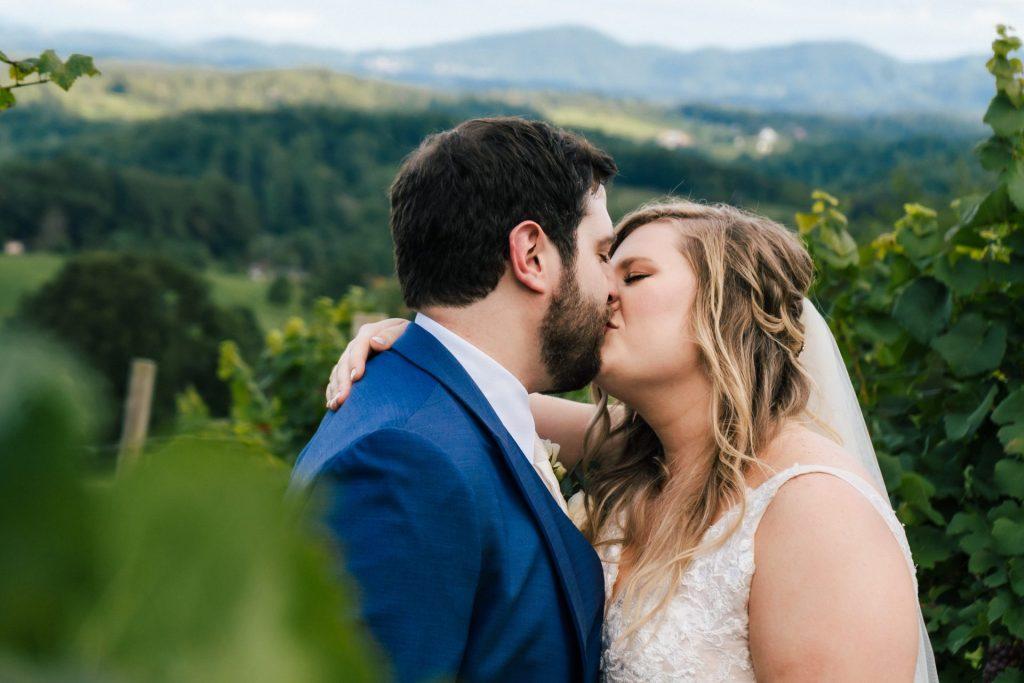Couple Kiss Vineyard