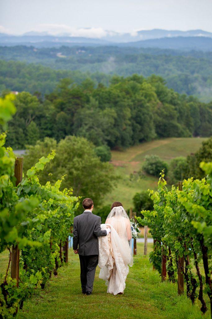 Bride and Groom Walk in Vineyard