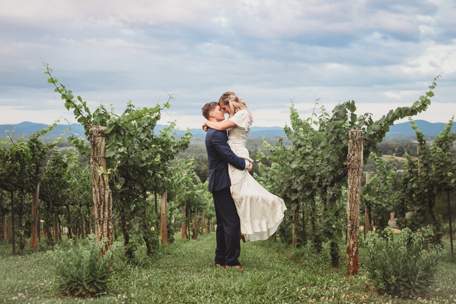 R&E.Wedding-couple in vineyard_getaway dress